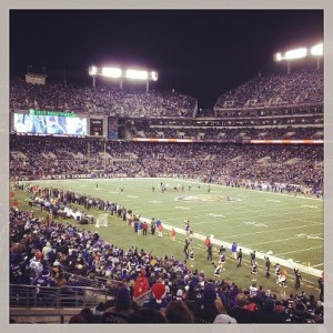 One of the highlights of the break was going to the Raven's game with Andrew's dad and brother. We won!