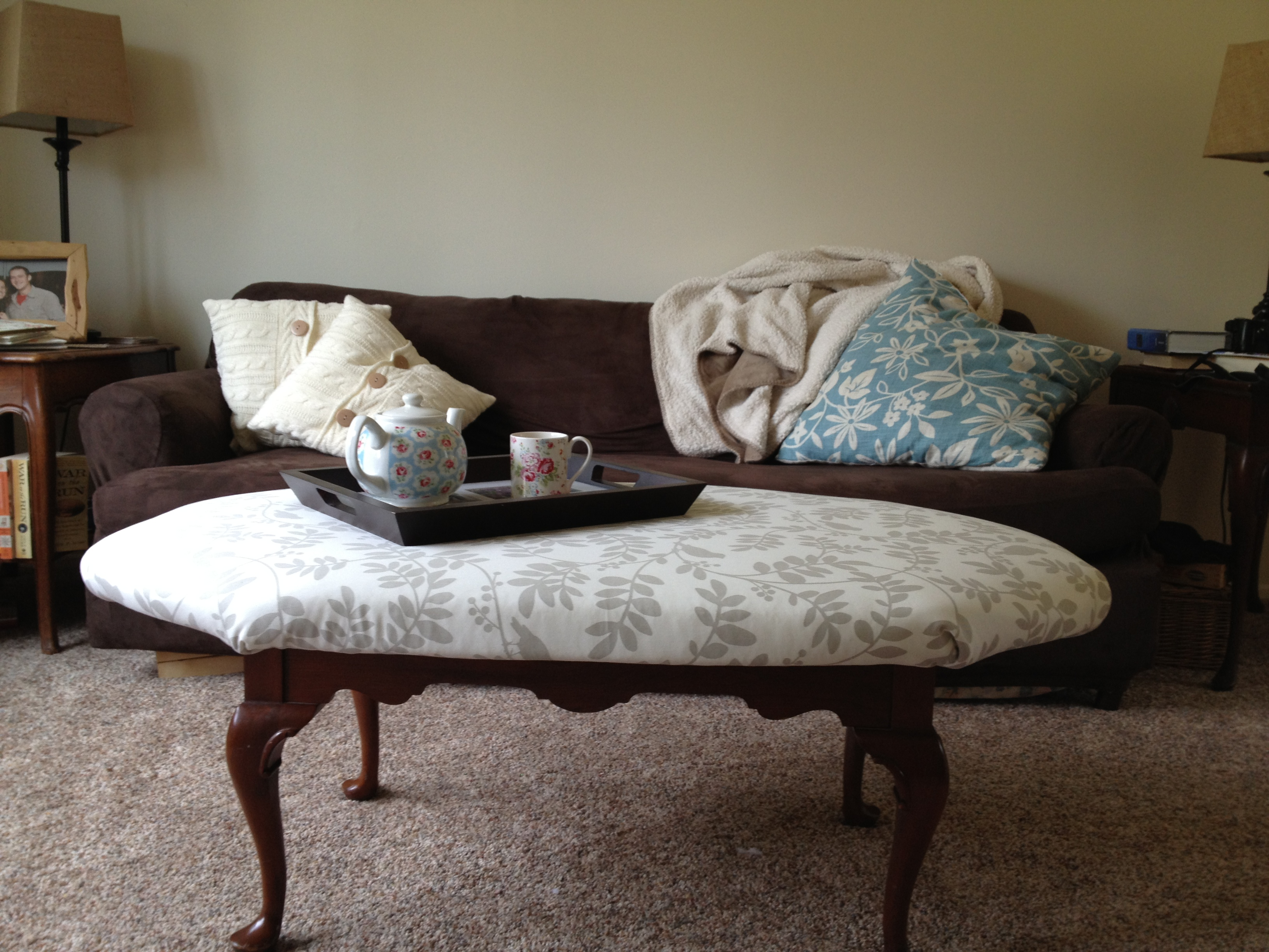 DIY Project Reupholstered Ottoman Coffee Table Steeped In Thought